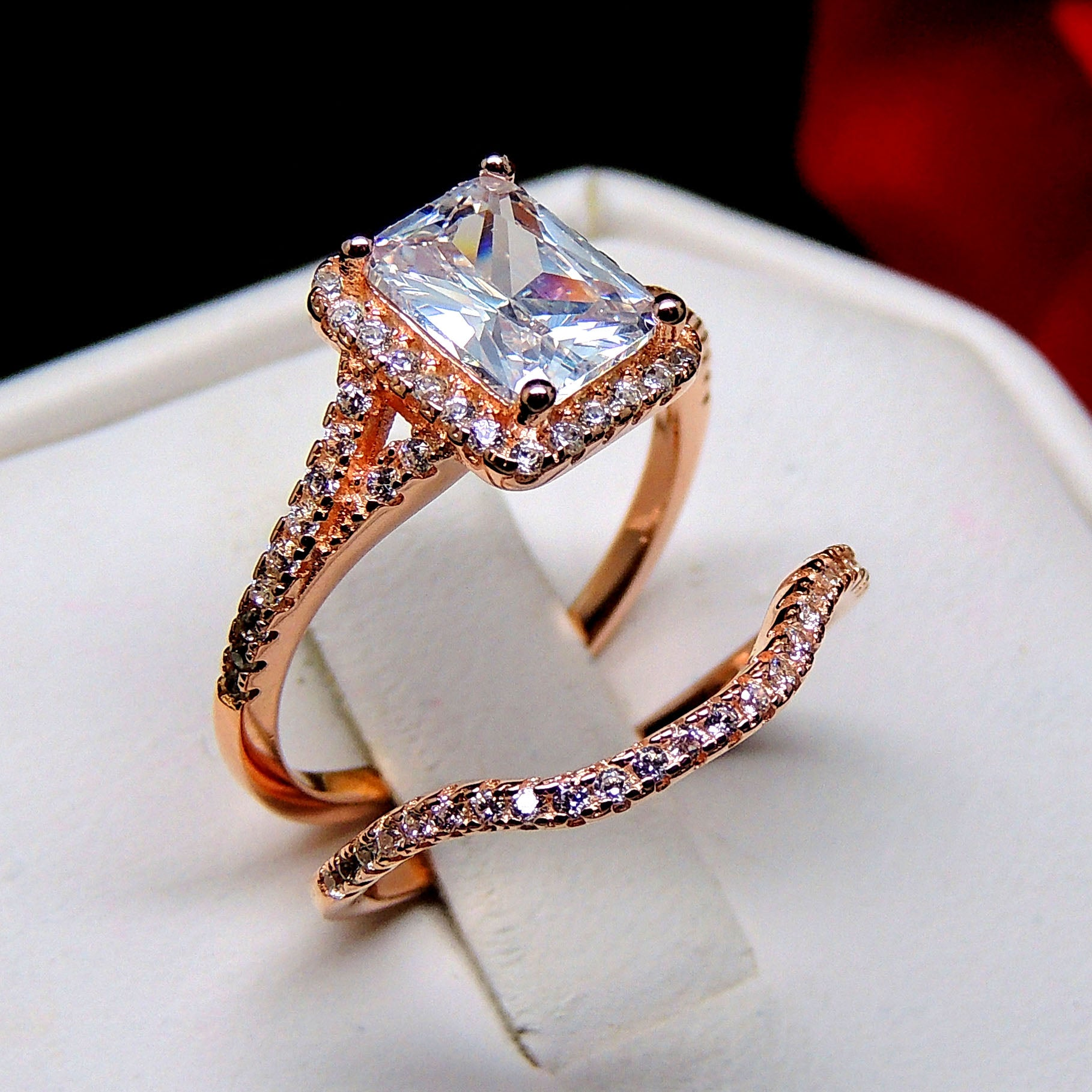 Nancy Rose Gold Over Sterling Engagement and Wedding Band Ring Set - Ginger Lyne Collection
