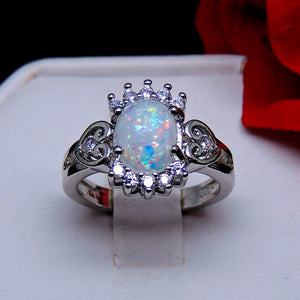 Neve Oval Shape Simulated Fire Opal with Clear Accents Ring - Ginger Lyne Collection