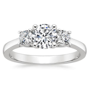 Noel Sterling Silver 3 Stone CZ Engagement Bridal Wedding Ring Ginger Lyne Collection