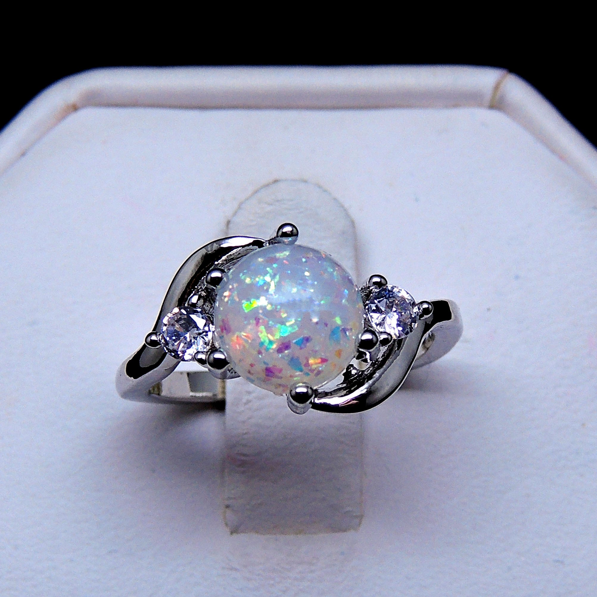 Oneonta Simulated Fire Opal with Clear Accents Ring - Ginger Lyne Collection
