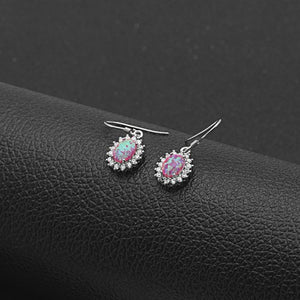 Created Opal CZ Sterling Silver Hook Earrings Ginger Lyne Luxury Collection