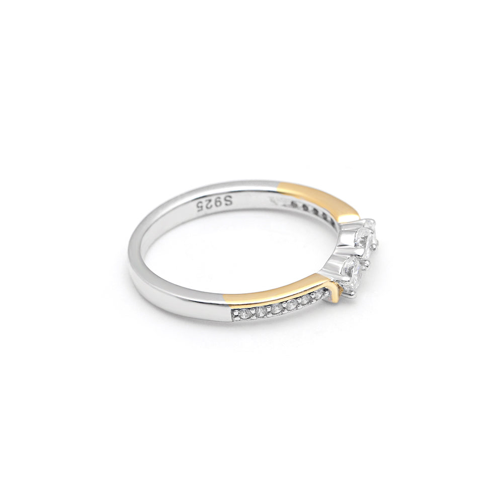 Paden 3 stone Two Tone Sterling Silver Anniversary Wedding Band Ring Ginger Lyne Collection