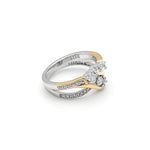 Load image into Gallery viewer, Ginger Lyne Collection Paden 3 Stone 925 Sterling Silver Engagement Ring Band Bridal Set