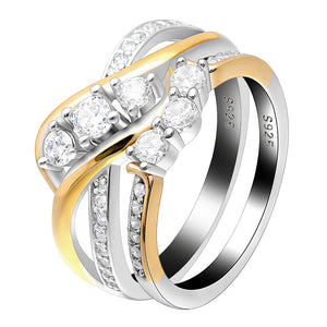 Ginger Lyne Collection Paden 3 Stone 925 Sterling Silver Engagement Ring Band Bridal Set
