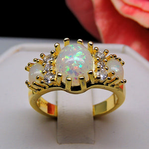 Posh 3 Stone Oval Simulated Fire Opal Ring - Ginger Lyne Collection