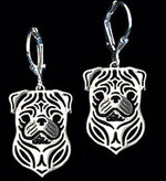Load image into Gallery viewer, Pug Dog Sterling Silver Necklace Dangle Earrings Set by Ginger Lyne Puppy Dog Pet Pendant Box Chain Doggie Animal Paw Print Heart Jewelry for Pit Mom Women Girls Teens
