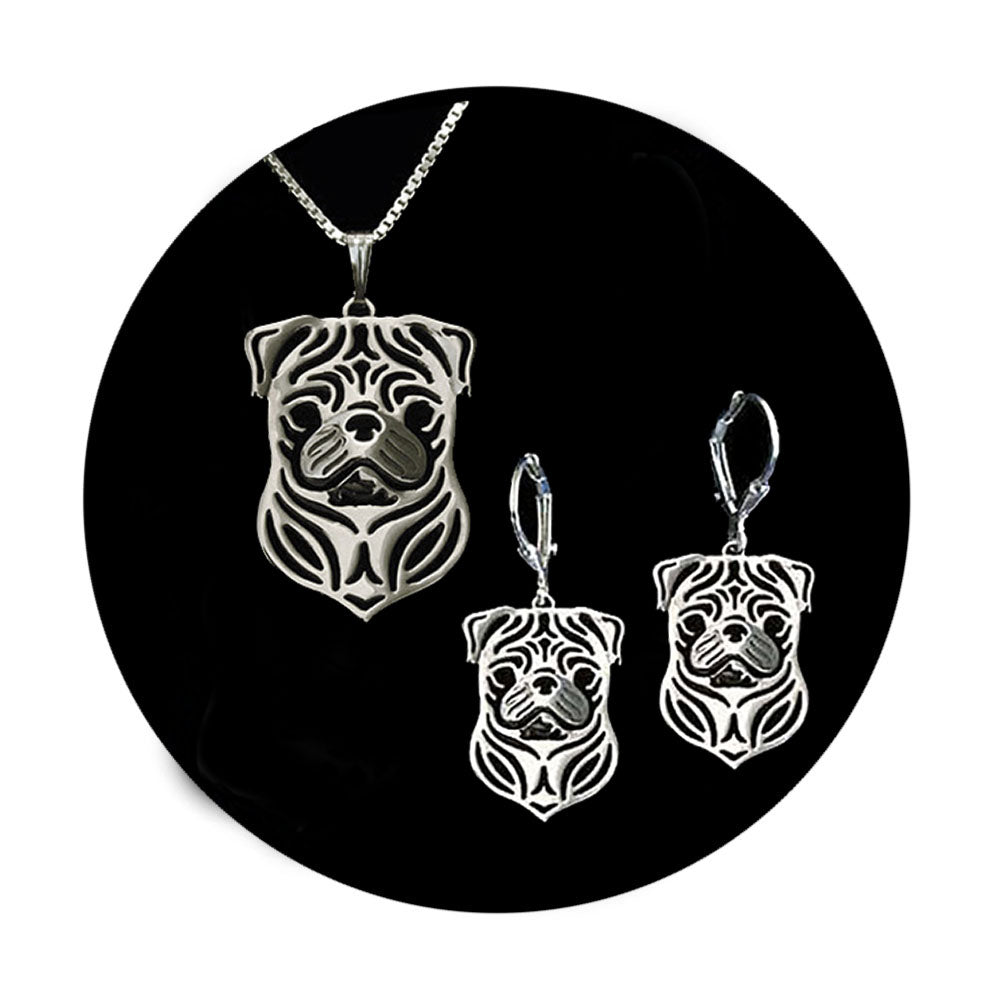 Pug Dog Sterling Silver Necklace Dangle Earrings Set by Ginger Lyne Puppy Dog Pet Pendant Box Chain Doggie Animal Paw Print Heart Jewelry for Pit Mom Women Girls Teens