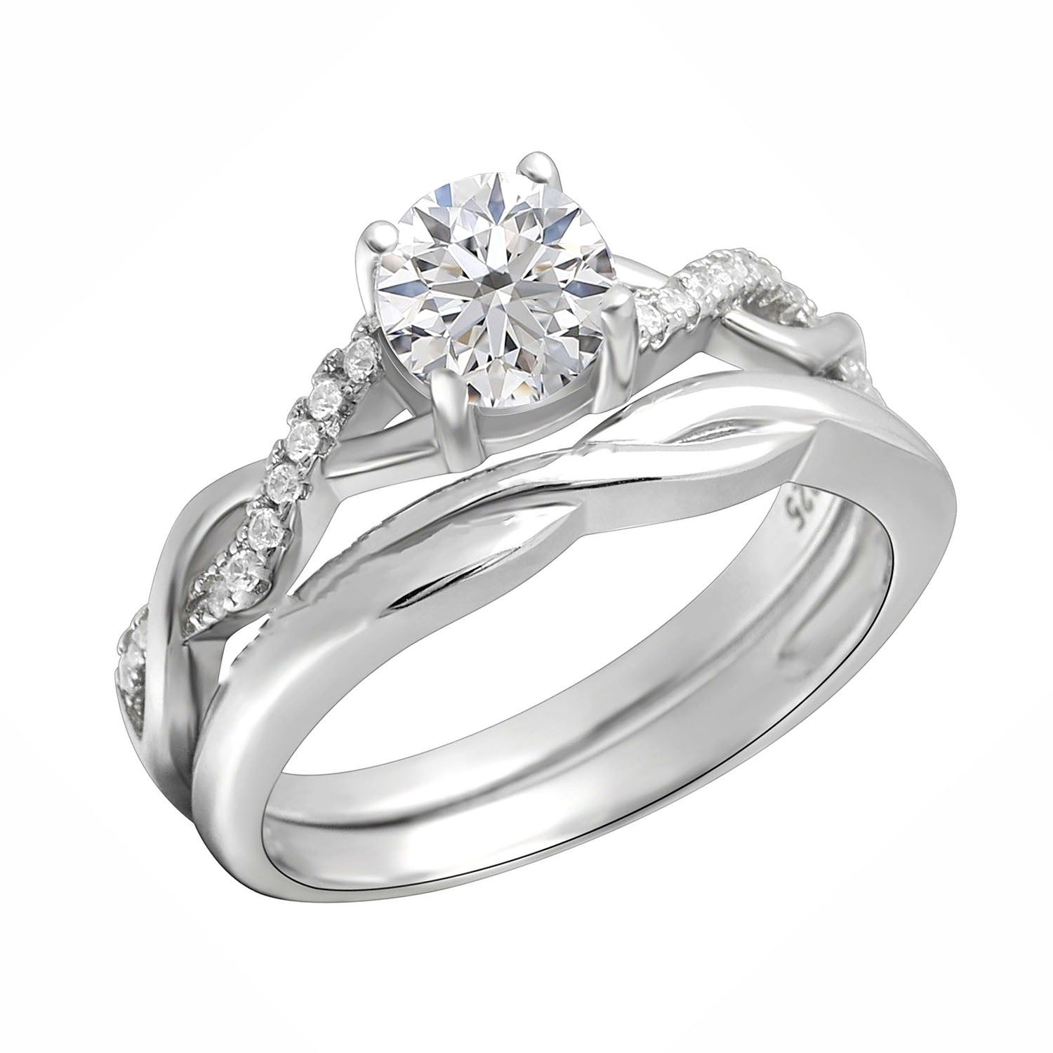 Queena Bridal Wedding Ring Set for Women Sterling Silver Twist Vine Setting with 1 Carat Cubic Zirconia Engagement and Band by Ginger Lyne Collection