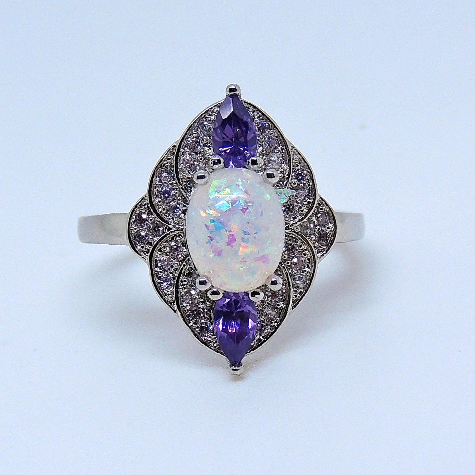 Quinn Oval Shape Simulated Fire Opal Purple CZ Ring - Ginger Lyne Collection