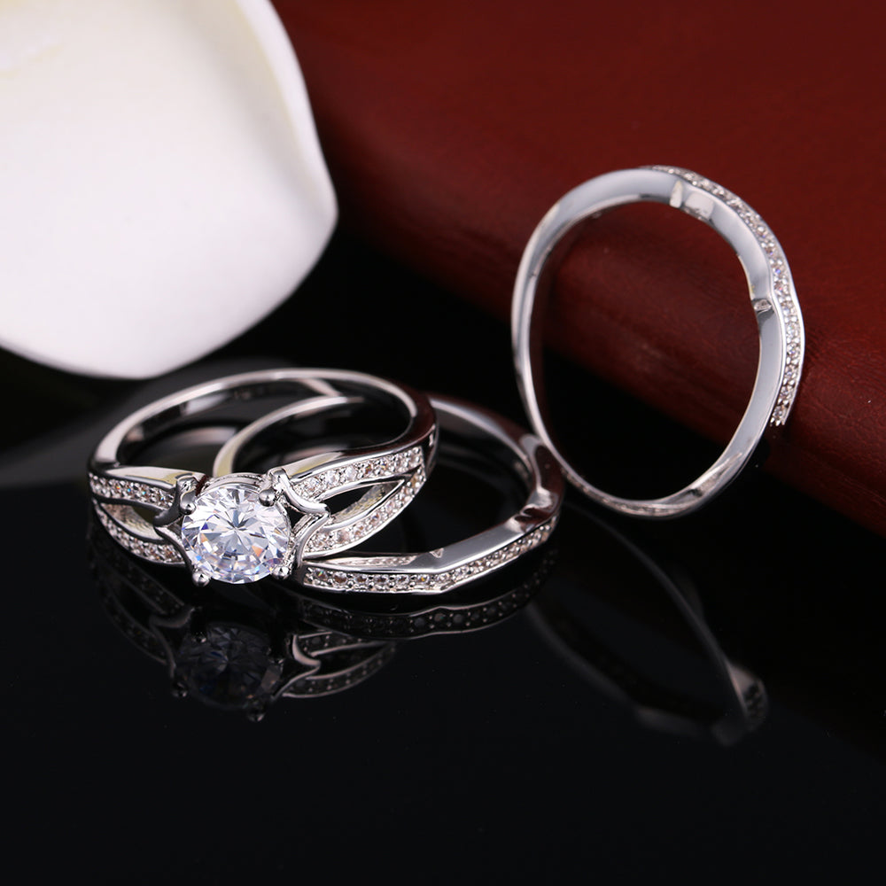 Rebecca Gorgeous 3 Ring Bridal Wedding Ring Set - Ginger Lyne Collection