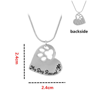 InchMy Dog Rescued Me Inch Heart Pendant 18 Inch Snake Chain Necklace Ginger Lyne Collection
