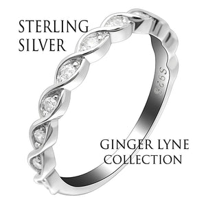 Shanti Solid Sterling Silver Rope Twist CZ Anniversary Wedding Bridal Band Ring Ginger Lyne Collection