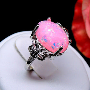 Ginger Lyne Collection Sharla Oval Shape Simulated Fire Pink Purple or Green Opal Ring Fashion Jewelry Ring for Women Girls