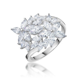 Ginger Lyne Collection Shai Lynn Marquise Flower Sterling Silver CZ Ring