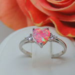 Load image into Gallery viewer, Shelly Pink Heart Simulated Opal 925 Sterling Silver CZ Engagement Wedding Bridal Ring Ginger Lyne Collection