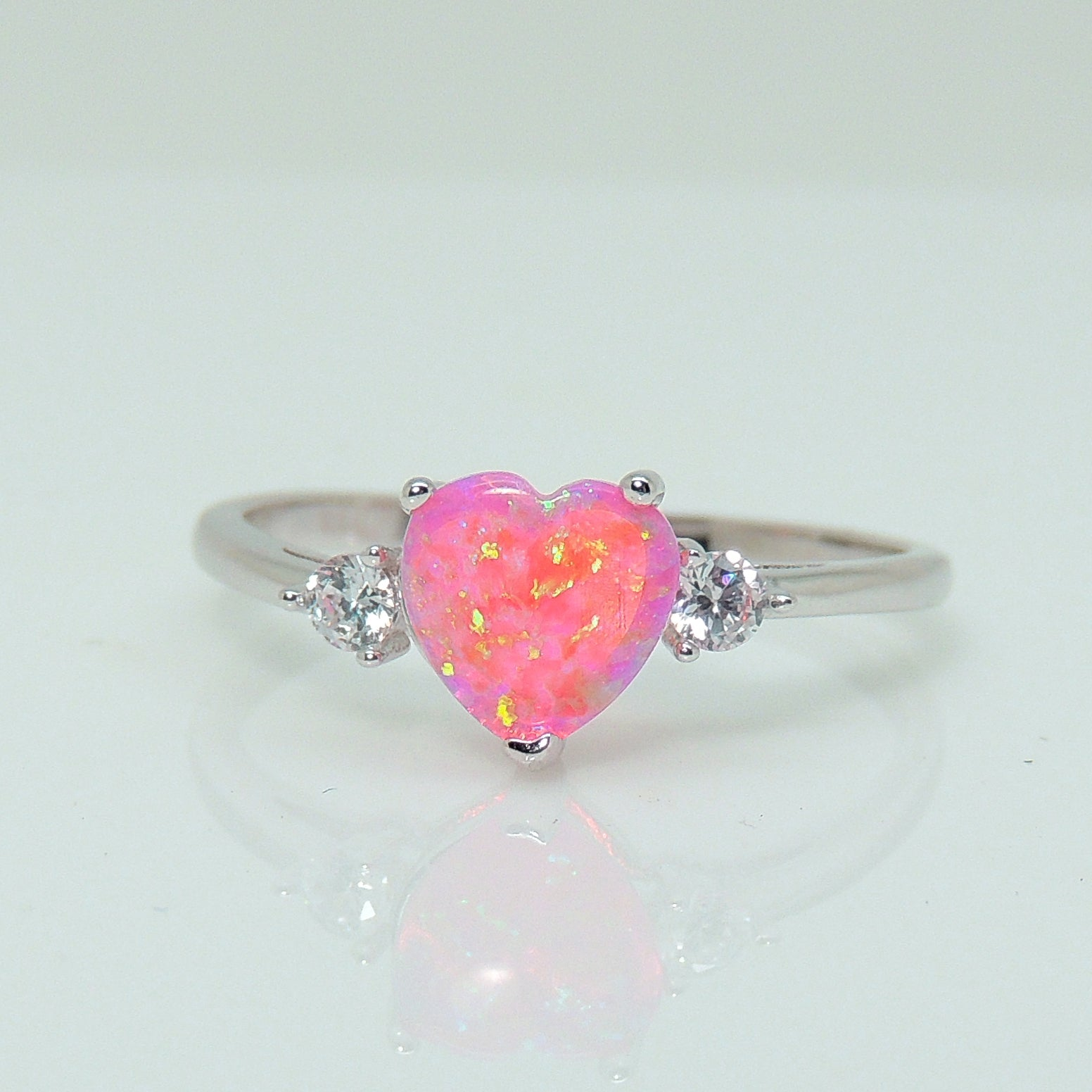 Shelly Pink Heart Simulated Opal 925 Sterling Silver CZ Engagement Wedding Bridal Ring Ginger Lyne Collection