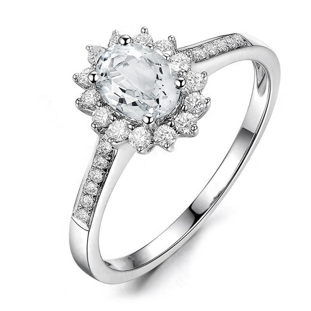 Ginger Lyne Collection Sherry Lynn Sterling Silver Oval CZ Engagement Bridal Ring