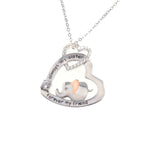 Load image into Gallery viewer, Heart Sister Elephant Necklace Sterling Silver Cubic Zirconia Engraved Always My Sister Forever My Friend 18 Inch Rolo Chain Plus Pendant Charm Love Jewelry Gifts For Women Girls Best Friend