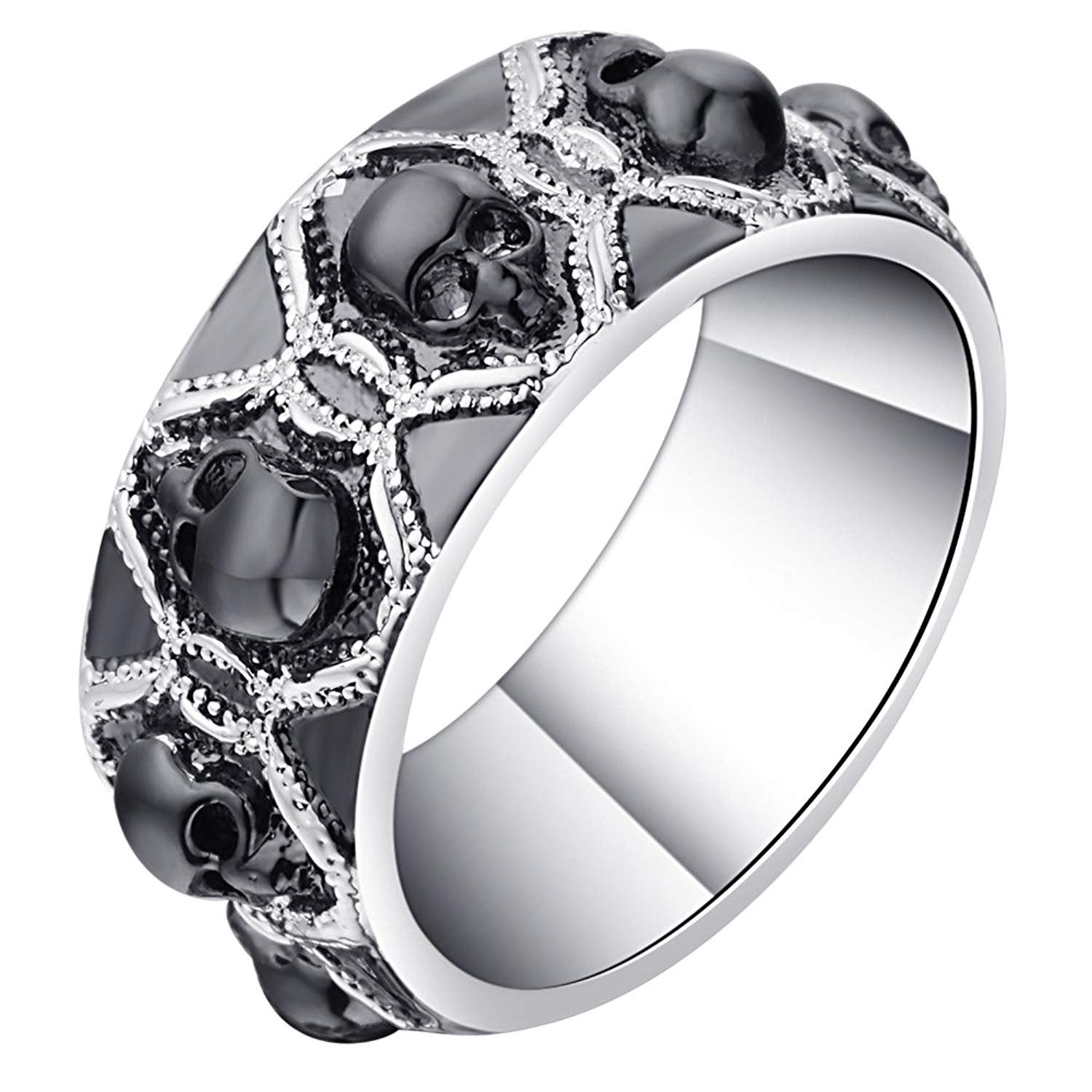 Skulls Black Punk Style 8mm Wedding Band Ring Ginger Lyne Collection
