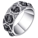 Load image into Gallery viewer, Skulls Black Punk Style 8mm Wedding Band Ring Ginger Lyne Collection