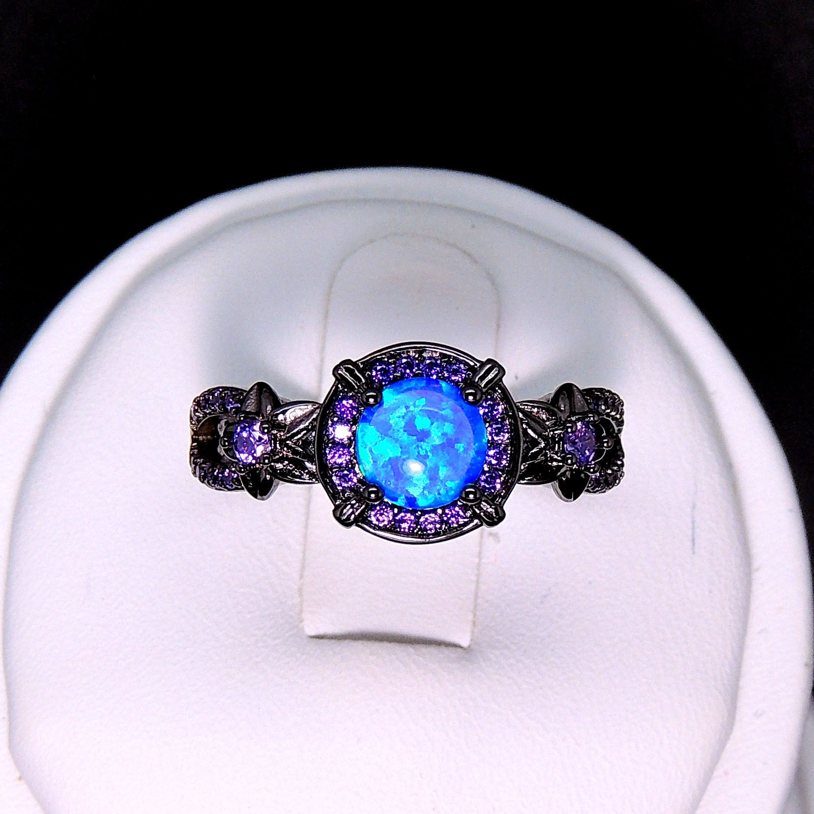 Sloane Engagement Ring Statement Cocktail By Ginger Lyne Black Plated Simulated Fire Opal Stone Blue or Pink/Purple Fashion Jewelry For Women