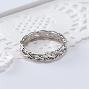 Unique Celtic Twisted Sterling Silver Eternity Wedding Bridal Band Ring Ginger Lyne Collection