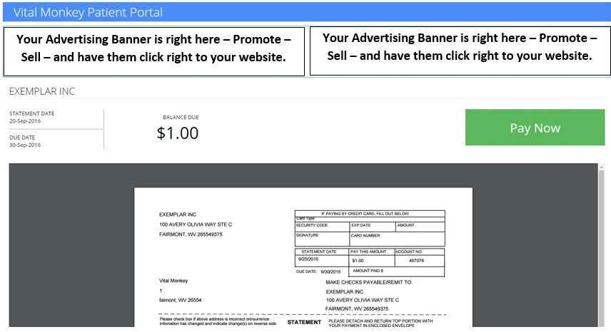Banner Ad for patient e-Statements (monthly)