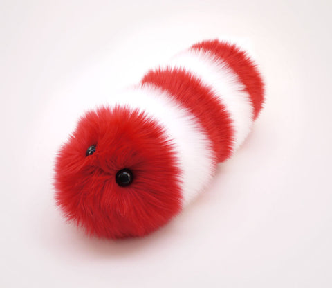 Peppermint the Snuggle Worm Stuffed Animal Plush Toy angled view.