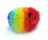 Bow the rainbow guinea pig stuffed animal plush toy side view.