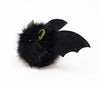 Fang the green eared black bat stuffed animal plush toy side view.