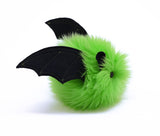 Beetle the lime green bat stuffed animal plush toy side view.