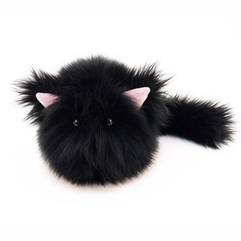 Poe the All Black Cat Stuffed Animal Plush Toy medium size front view.