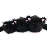 Poe the All Black Cat Stuffed Animal Plush Toy group shot.