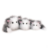 Buddy the grey and white cat stuffed animal plush toy group shot.