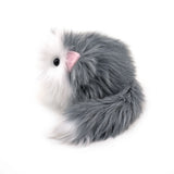 Buddy the grey and white cat stuffed animal plush toy side view.