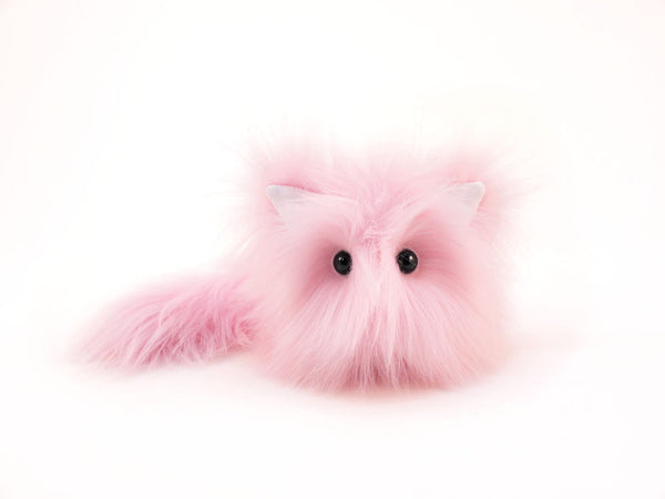 Baby the light pink cat stuffed animal plush toy front view.