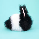 Oscar the Black and White Bunny Stuffed Animal Plush Toy side view.