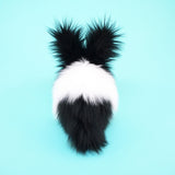 Oscar the Black and White Bunny Stuffed Animal Plush Toy back view.