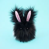 Oscar the Black and White Bunny Stuffed Animal Plush Toy front view.