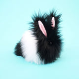 Oscar the Black and White Bunny Stuffed Animal Plush Toy medium size side view.