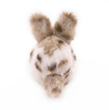 Peanut the tan and white spotted bunny stuffed animal plush toy back view.
