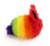 Bow the rainbow bunny stuffed animal plush toy side view.