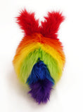 Bow the rainbow bunny stuffed animal plush toy back view.