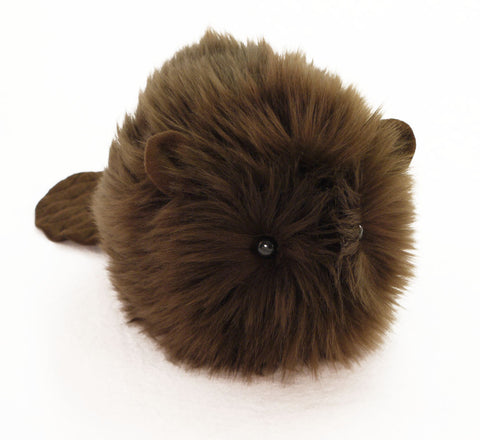 Bernie the brown beaver stuffed animal plush toy angled view.
