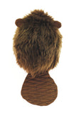 Bernie the brown beaver stuffed animal plush toy back view.