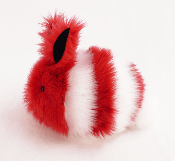 Peppermint the Red and White Bunny Stuffed Animal Plush Toy side view.