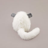 Bianca the white chinchilla stuffed animal plush toy back view.