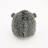 Hemingway the black and grey hedgehog stuffed animal plush toy back view.