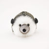 Hemingway the black and grey hedgehog stuffed animal plush toy front view.