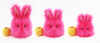 Petunia the Hot Pink Easter bunny plush toy, group shot with apple showing scale..